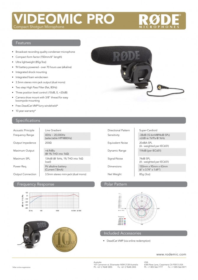 123 954 1 1 vmp datasheet 670x946 Giveaway. New RØDE Video Mic Pro Announced.