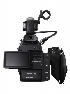 EOS C100 BCK HANDLE LCD OPEN 240x320 Canon C100   Canons cinema cam for indie shooters [UPDATE]