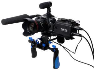 dr 60d w dslr rig 300x225 Tascam DR 60D   dedicated, lightweight DSLR audio recorder