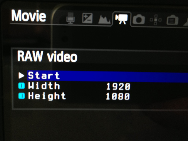 Raw video menu option in the Magic Lantern menu.