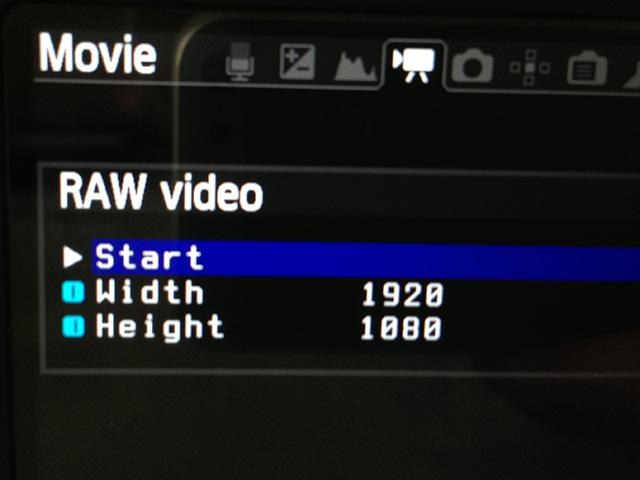 Raw video menu option in the Magic Lantern menu.