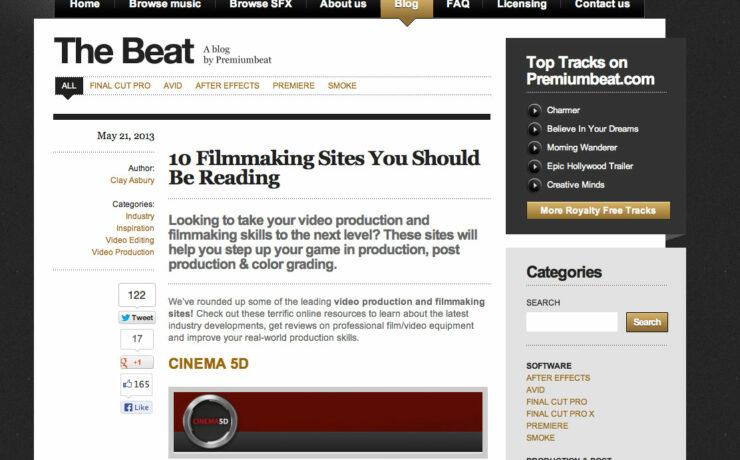 cinema5D tops Premiumbeat's '10 Filmmaking Sites You Should Be Reading' list