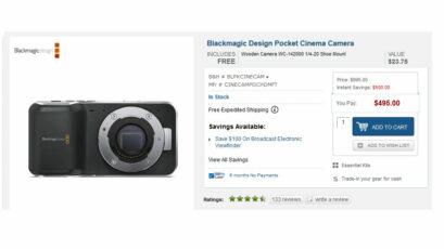 Blackmagic Pocket Cinema Camera drops below $500 / €375 until August 31st