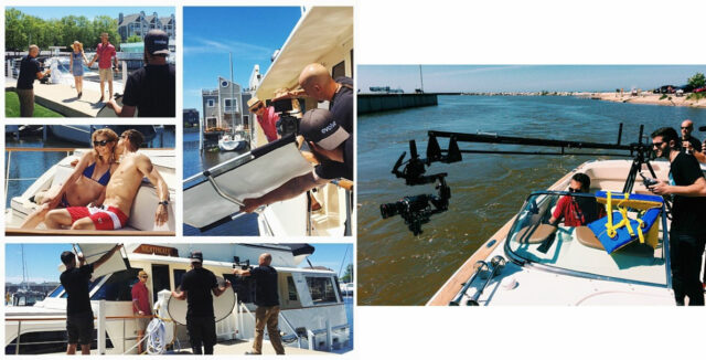 Tom Guilmette shooting commercials for Nightingale Charters using Kessler equipment.