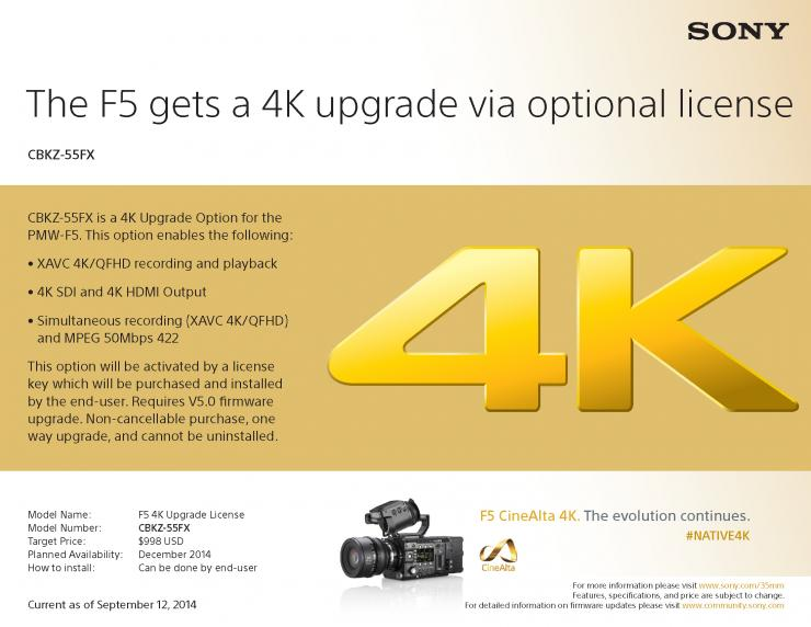 Sony F5 4K Upgrade License