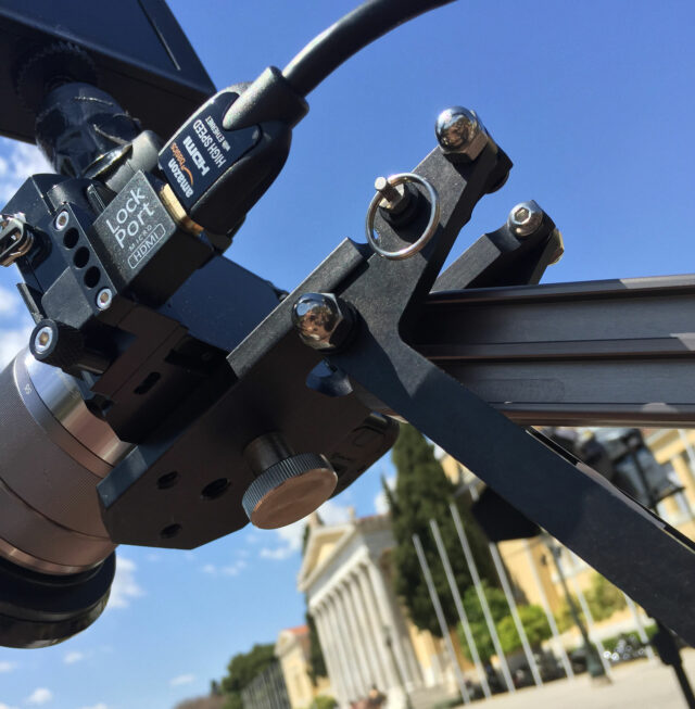 The LOCKCIRCLE Lockport a7M2 Kit on a Kessler Crane Pocket Jib Traveler .... the only way to make an external recorder / preview monitor work with Micro HDMI