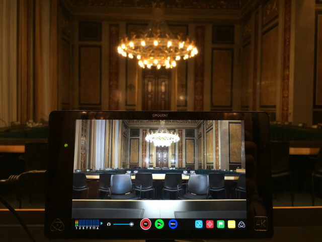 Inside a conference room in the Austrian Parliament