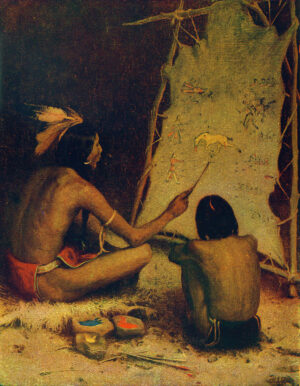 "The Historian"" - The Indian Artist is painting in sign language, on buckskin, the story of a battle with American Soldiers. Artist: E. Irving Couse"