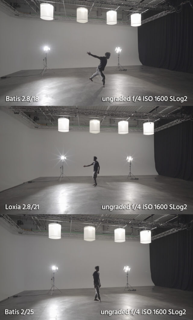 Side-by-side comparison of the Batis 2.8/18, Batis 2/25 and Loxia 2.8/21