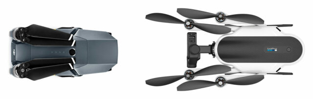 DJI Mavic vs GoPro Karma comparison in folded away state (the size differences are not accurate)