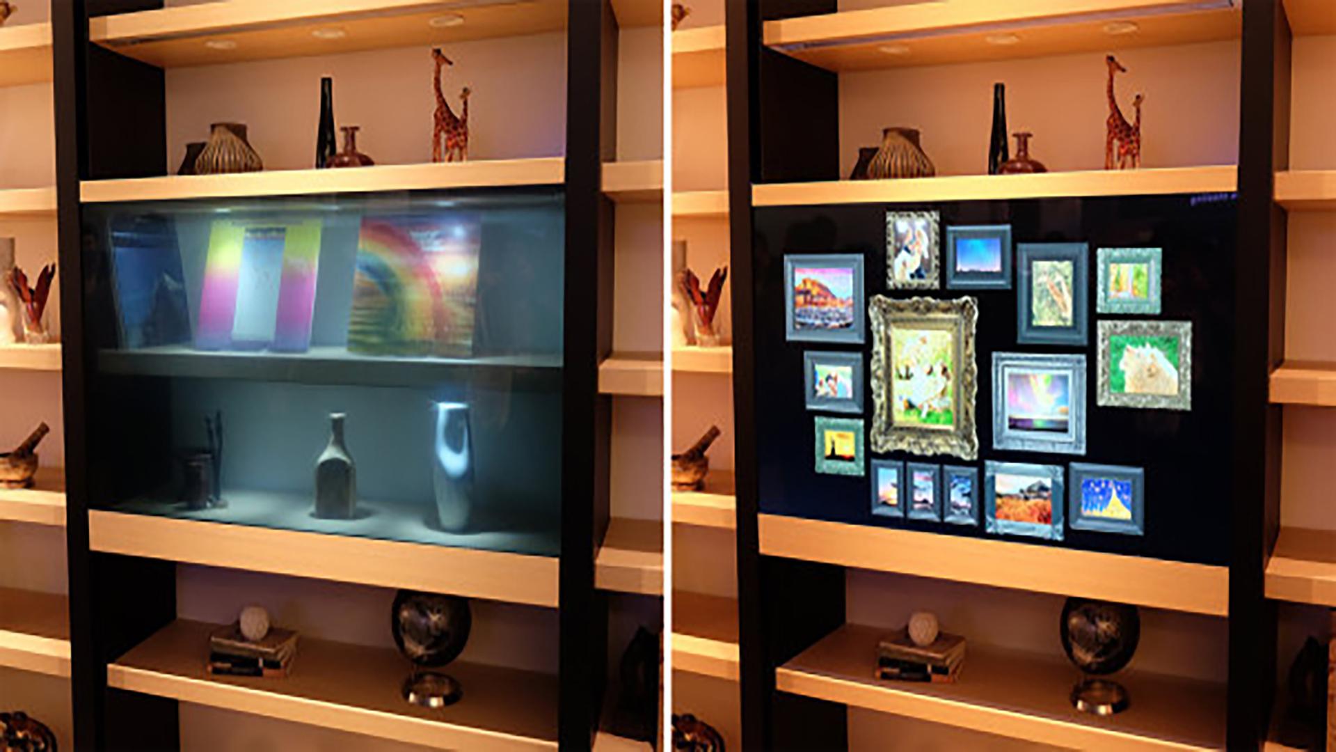 Panasonic Transparent Tv Mounted In Bookshelf January 2016