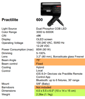 Kinotehnik Practilite 600 Specs