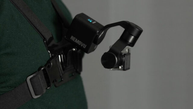 Removu S1 mounted on a standard GoPro chest harness using the GoPro accessory mount.