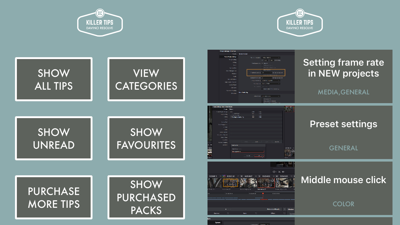 """""""DaVinci Resolve Killer Tips"""" App - for iOS and Android"""