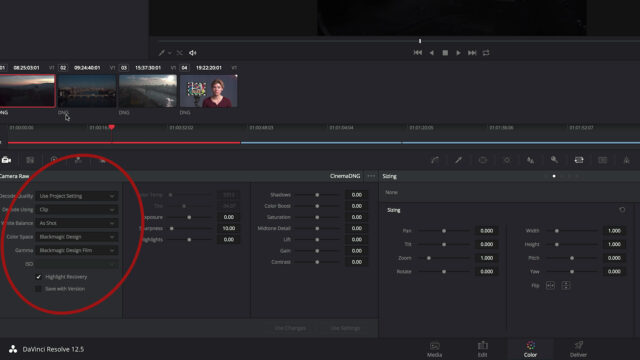Convert Inspire 2 Raw in Blackmagic Design DaVinci Resolve