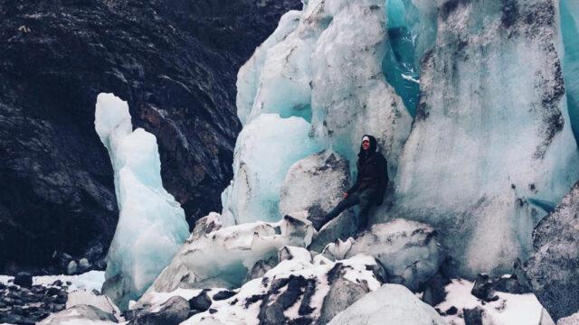 Shooting in cold Alaska, filming the glacier