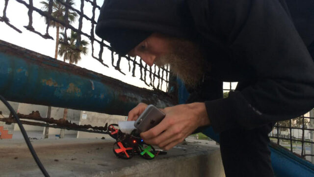 Robert Mcintosh at work, creating his latest impossible drone video.