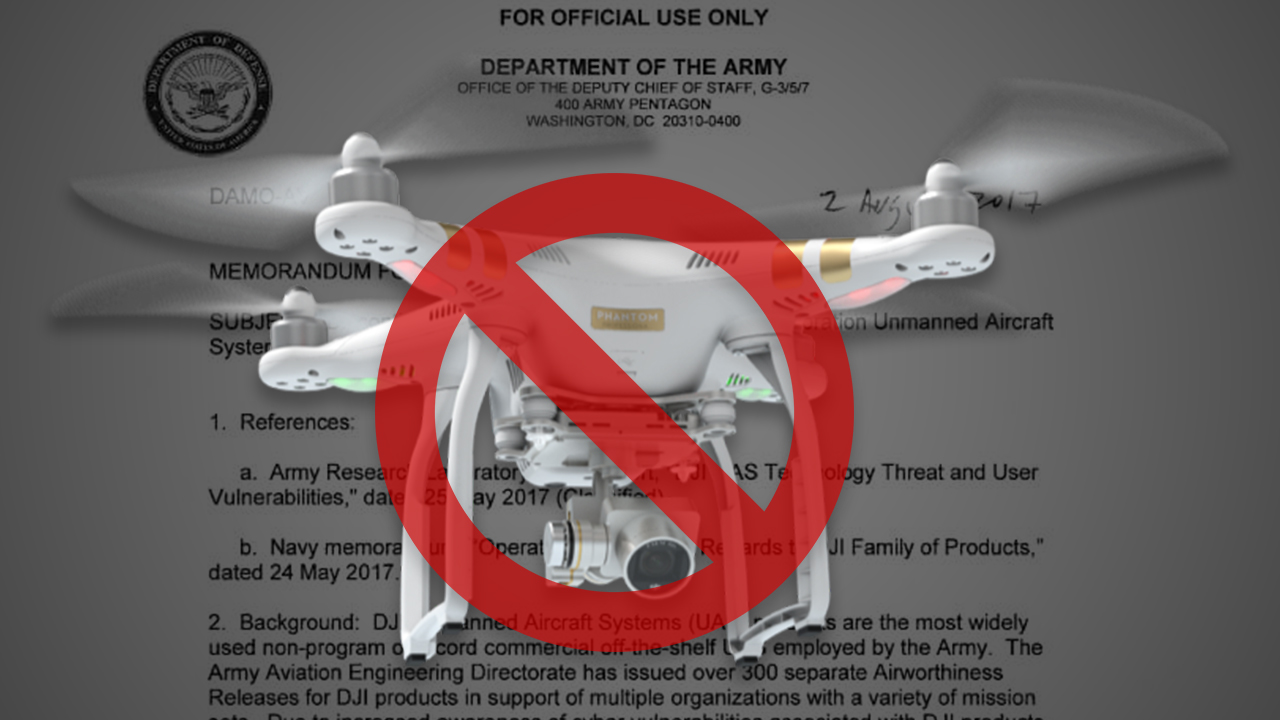 US Army bans use of Chinese-made drones due to 'cyber vulnerabilities'