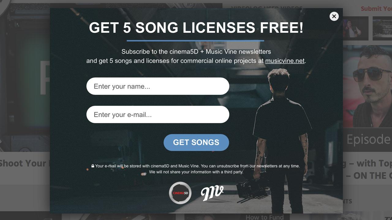 Music Vineからのプレゼント - 5曲が無料でダウンロード