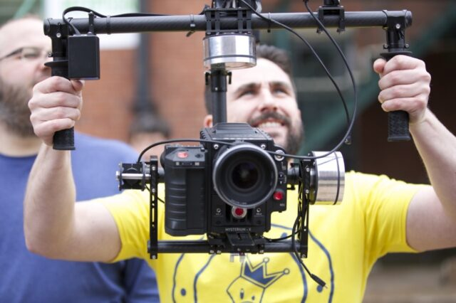 A Freefly Movi M5 gimbal in use