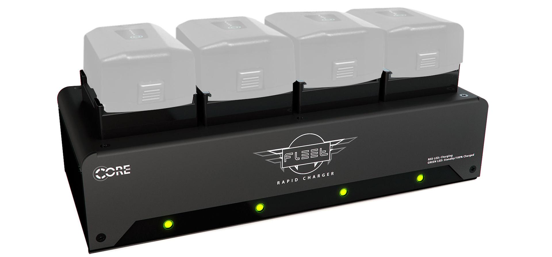 Cargador Fleet FF de Core SWX - Carga 4 packs de baterías MōVI Pro en 45 minutos