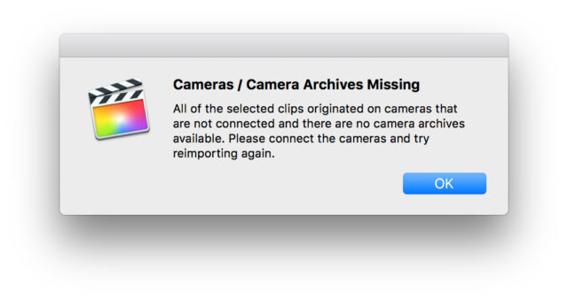 "Importing Media into Final Cut Pro X: FinalCutProX ""camera missing"" error message."