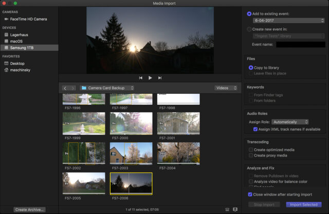 Importing Media into Final Cut Pro X: FinalCutProX's import dialog screen