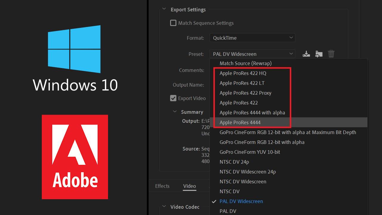 Adobe agrega exportación en ProRes en Windows para Premiere, After Effects