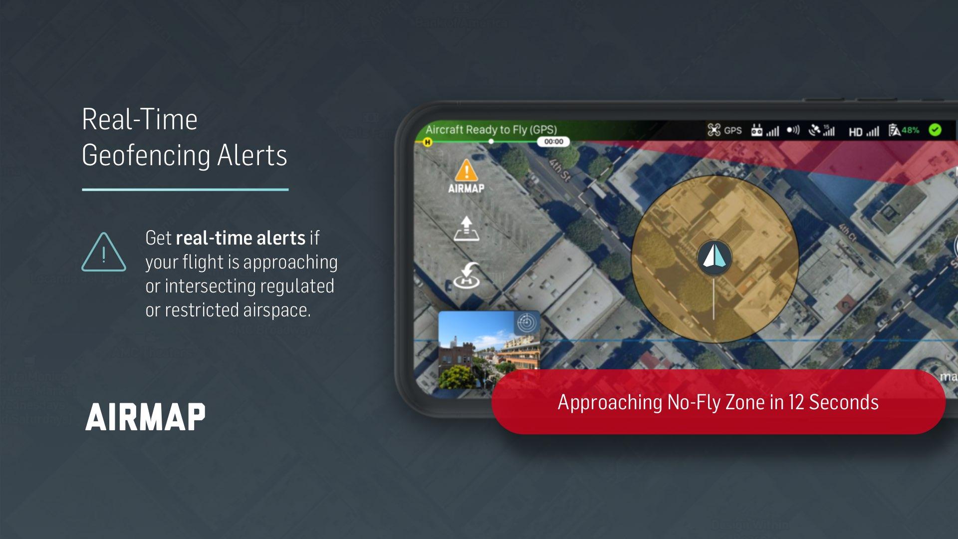 AirMap ahora viene con alertas de geo-cercas en tiempo real para drones DJI