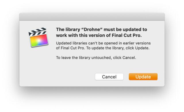 Final Cut Pro X Update Library Update Window