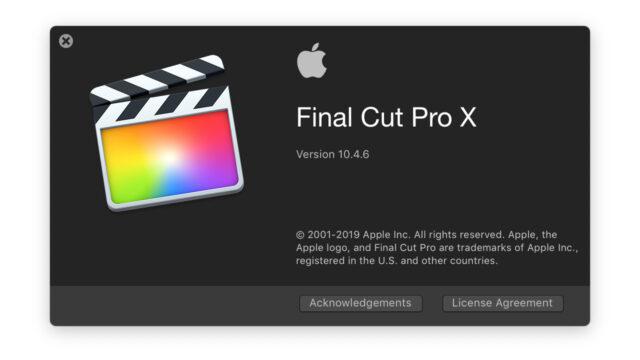 Final Cut Pro X Update 10.4.6 splash screen