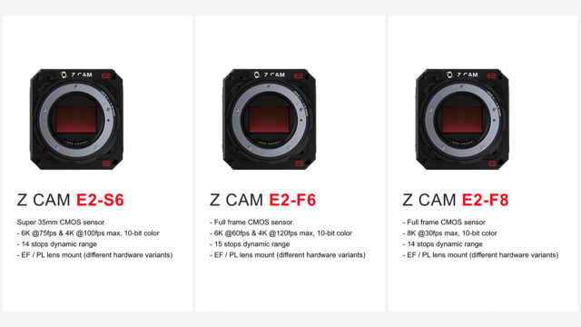 Z CAM E2-lineup: S6, F6 & F8 camera bodies and comparison