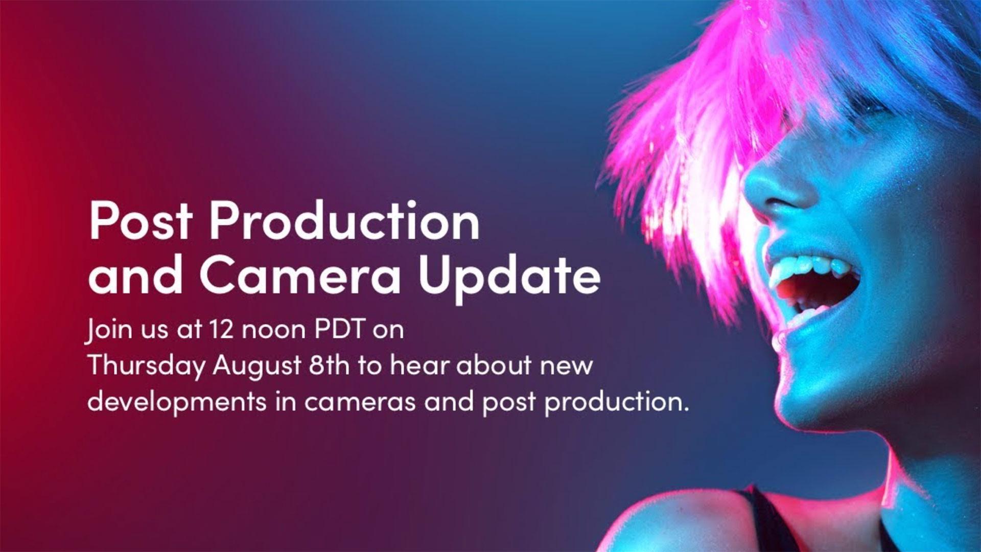 """Blackmagic Design anuncia transmisión sobre """"Postproducción y actualización de cámara"""" más tarde hoy"""