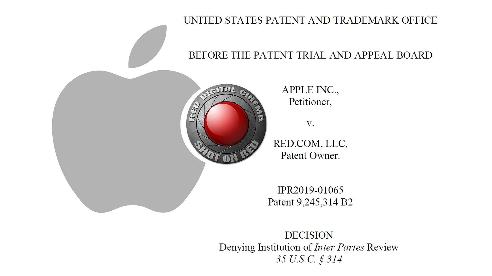Desestiman impugnación de patente de Apple contra RED - la patente RED RAW sigue siendo válida
