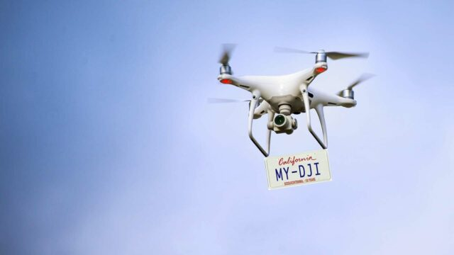 DJI drone with license plate - soon remote ID will be like a digital license plate