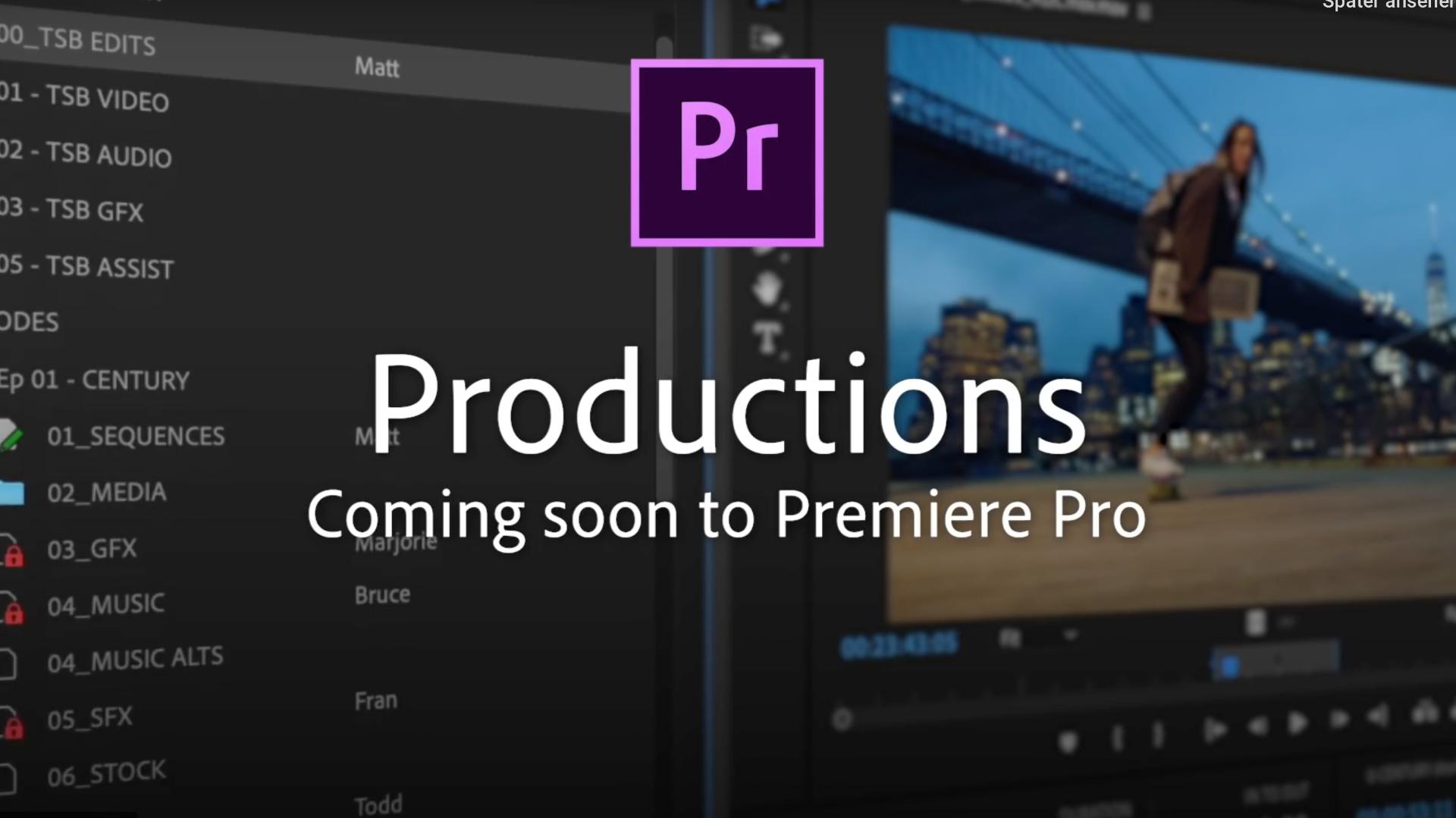 Próximamente nuevo Panel de Producciones en Adobe Premiere Pro