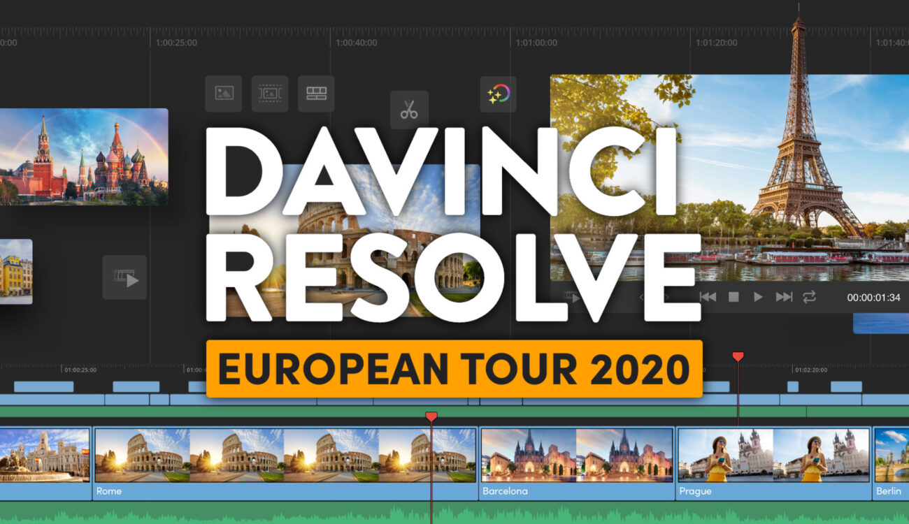 Learn DaVinci Resolve for Free – European Tour with over 35 Cities Ahead