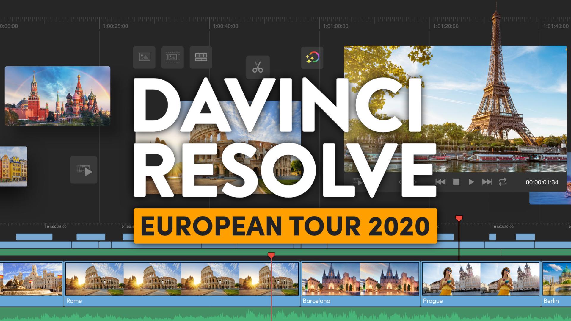 Aprende DaVinci Resolve gratis – gira europea que incluye a más de 35 ciudades