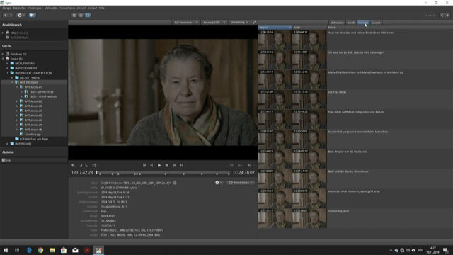 Kyno Workflow - Interview Subclip View - Simplified Post-Production (PC) (Image Credits: W. Zöttl)