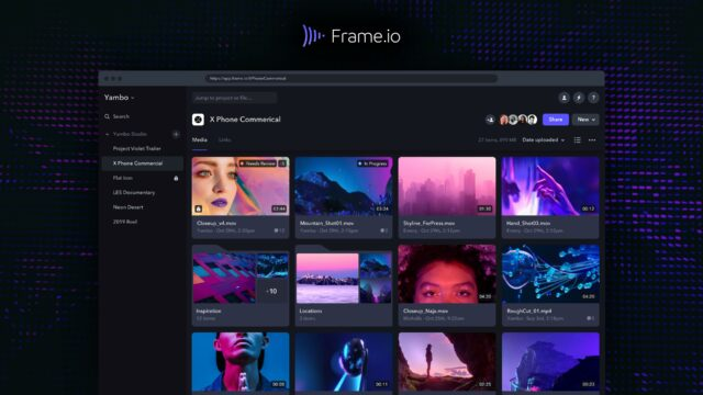 frame.io dashboard