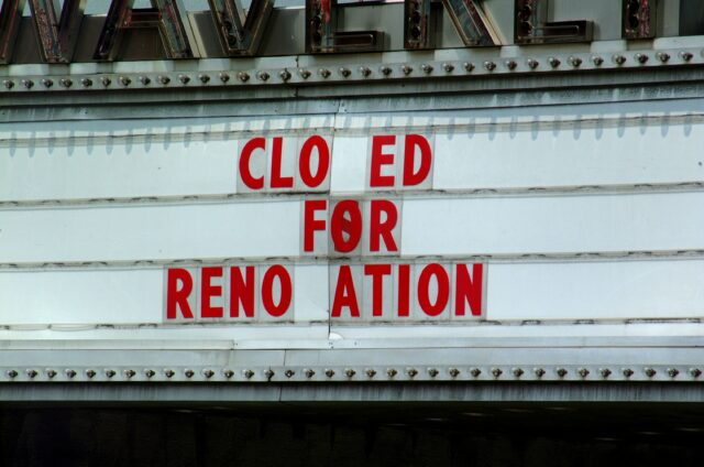 "Sign reading ""closed for renovation,"" movie filmmaker cinema coronavirus staff"