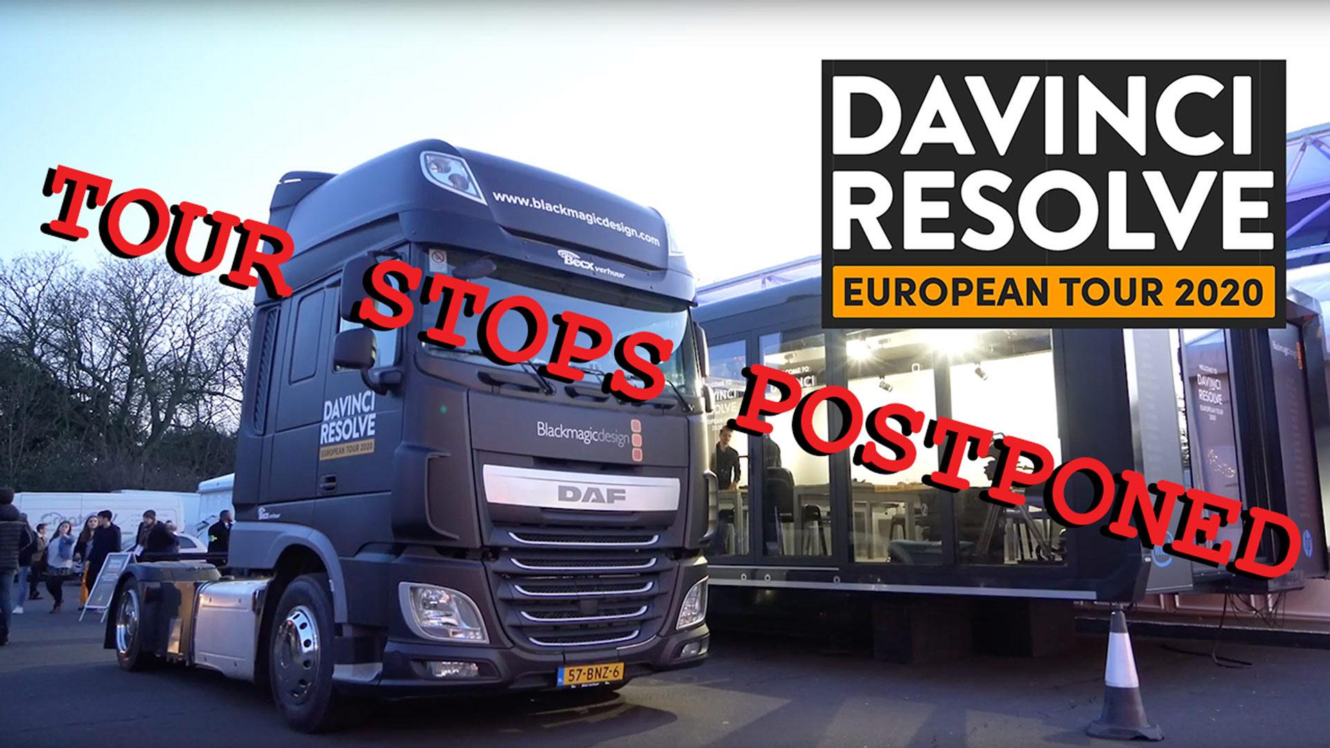 Tour Europeo de DaVinci Resolve 2020 - Algunas paradas de la gira pospuestas debido al coronavirus