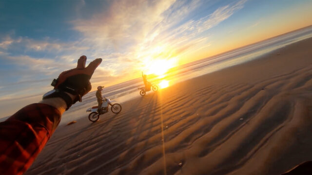 Sunset on motorcycles using a GoPro camera. Image credit: Abe Kislevitz.
