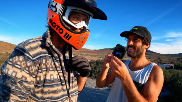 GoPro camera Professional, Abe Kislevitz mounts a 360 Max to a motorcycle helmet. Image credit: Abe Kislevitz