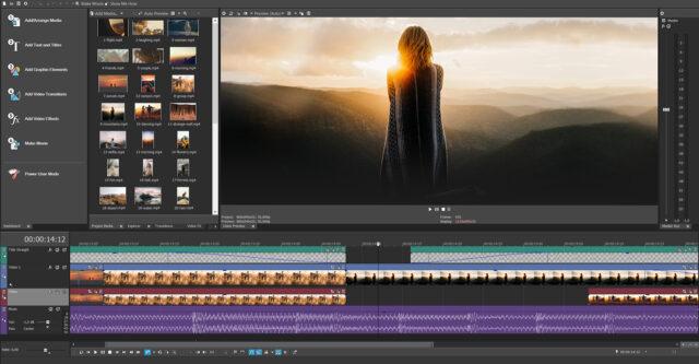 The VEGAS Movie Studio 17 editing interface.