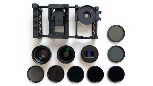 The Beastgrip Pro shown with the full range of Beastgrip filters.