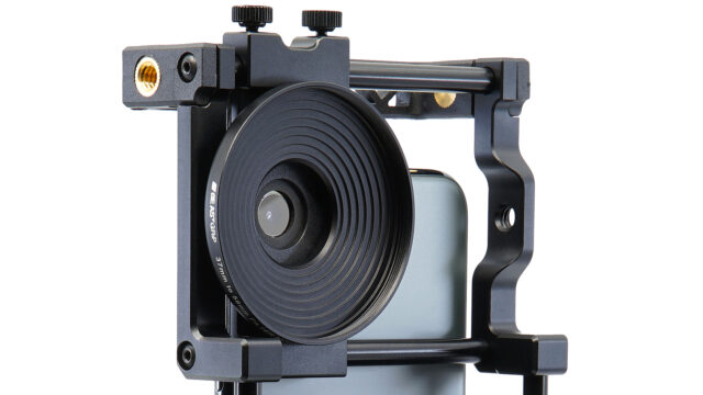 The Beastgrip 37mm to 58mm filter mount on the Beastgrip Pro cage.