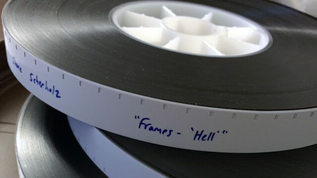 Processed reels of film for the music video