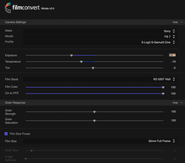 FilmConvert NITRATEs basic controls.