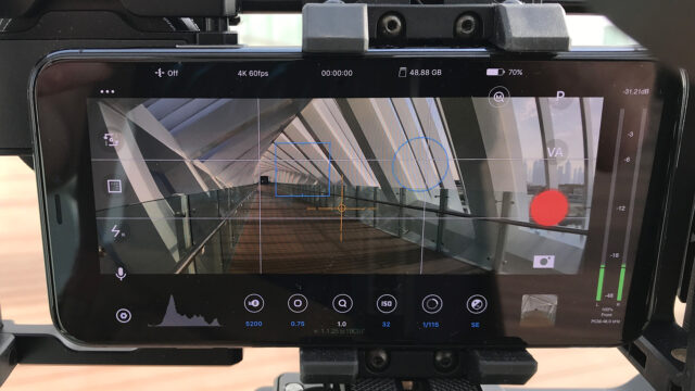 Behind the scenes image of the display of an iPhone 11 Pro Max showing the Beastcam app.